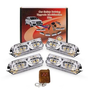 Kit Strobo Automotivo 04 Farol LED Branco + Âmbar 24W - Prova d'Água + Controle Longa Distancia 12V