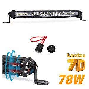 Barra de LED 7D Slim Fina 78w 26 LEDs 29cm 10 Pol + Válvula de Respiro + P.Fuse  - UND