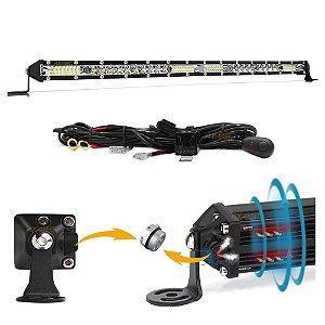 Barra LED Slim Fina Milha Farol Aux 168w 52 LEDs 51cm 20 Pol Válvula + Chicote