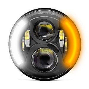 Farol de LED 7 Polegadas Projetor 60w - Angel Eyes Duplo com Seta - Motos Harley e Custom - Preto - Und