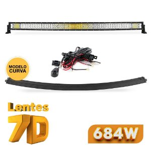 Barra de LED 50 Pol 133cm CURVA 7D 684W 84000Lm Farol Milha Abertura 150º - Suporte Lateral + Chicote