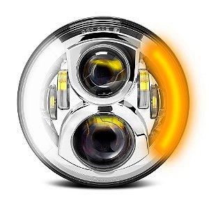 Farol de LED 7 Pol Projetor 60w - Angel Eyes Duplo com Seta - Motos Harley e Custom - Prata - Und