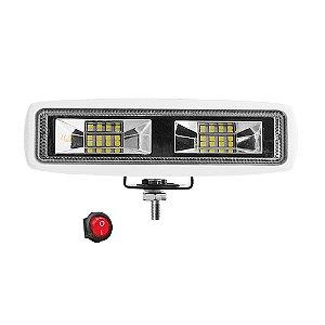 Farol de LED Auxiliar Milha 6 Pol 48w 16 LEDs Flood + Spot 16cm 2400Lm - Branco Und