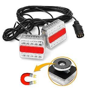 Kit Sinaleira de LED para Reboques com Ímã - Par + Plug 7 Pinos + Fiação