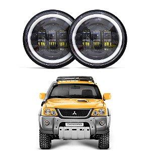 Kit 2 Farol LED 4.5 Polegadas Angel Com Suportes para Mitsubishi L200 Pajero Sport Tr4