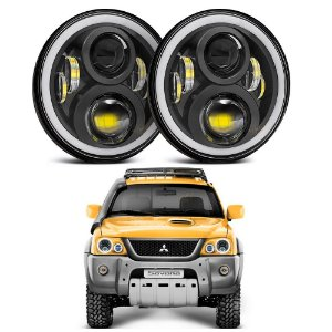 Kit Farol LED 7 Polegadas 60w Angel Eyes e Seta 2a Ger + Suporte Para Mitsubishi L200, Pajero TR4, Sport