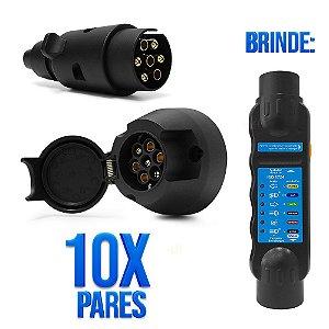 Kit Engate Reboque Carretinha Trailler em Plástico com 7 Pinos - 10 Macho + 10 Fêmea + Testador