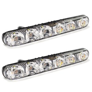 Farol LED DRL  6 LEDs - Luz Diurna Branco - Seta Âmbar - Alumínio 12v - Par