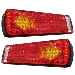 Lanterna Traseira Sinaleira de LED Caminhão Luz Ré Freio Seta 52cm 24V - 3 Lentes Cada - Par