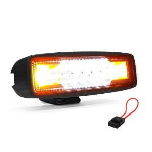 Farol LED Milha + Strobo Âmbar 48W 15,5cm - Und + Porta Fuse