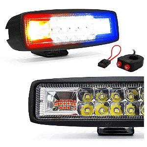 Farol LED Milha + Strobo Vermelho e Azul 48W 15,5cm + Interruptor Moto Duplo + Porta Fuse - Par