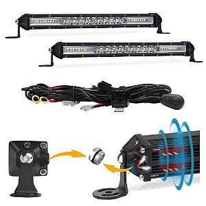 Barra LED Slim 7D 78w 26 LEDs 29cm 10 Pol Válvula + Chicote - PAR