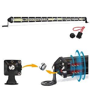 Barra LED Slim 7D 168w 52 LEDs 51cm 20 Pol Válvula + Fuse / Botão - UND
