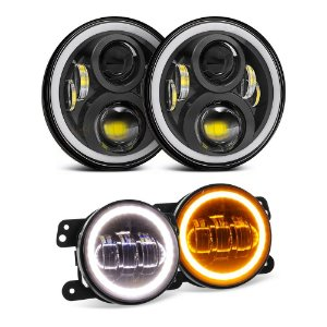 Kit 2 Farol LED 7 pol Angel 60w + 2 Milha 4 Pol p/ Jeep Wrangler