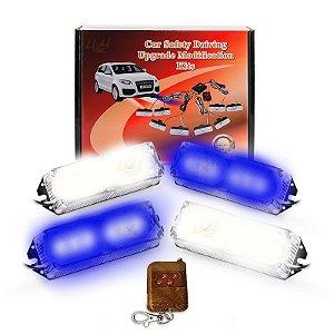 Kit Strobo Automotivo 04 Farol LED Azul e Branco 24W - Prova d' Água + Controle Longa Distancia 12V