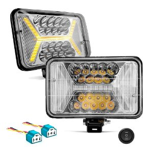 Farol LED Universal 4x6 Pol 96w Retangular Com Seta Laranja X - Par