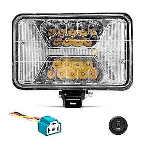 Farol LED Universal 4x6 Pol 96w Retangular Com Seta Laranja X - Und