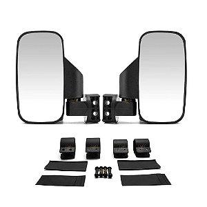 """Espelho Retrovisor Universal para UTVs - 2 Bases de Fixação: 1,75"""" ou 2"""" - Par"""