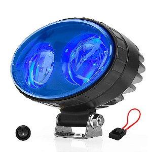 Farol Empilhadeira Azul Spot Sinalizador Profissional LED 20W 13,5cm + Botão - Und