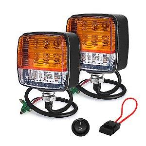 Farol Sinalinação para Empilhadeira 13 LEDs 39W - 7,5cm 10-80V - Par