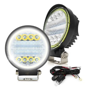 Farol Milha Redondo 72w 4 Pol 11cm Spot Flood + Angel Eyes 12v  + Chicote - Par