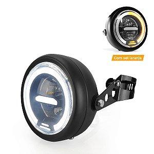 "Farol Universal Moto com Suporte Bojo 6.5"" LED 50W Angel Eyes Branco com Seta- Und"