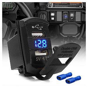 Carregador USB automotivo 2 portas 5V com voltímetro - Encaixe Painel Rocker  - UND