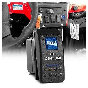 Tecla Botão Rocker Switch 5pin 20A Max 12V - Montagem 36x22mm  AZUL - Barra LED