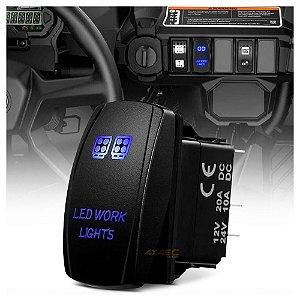 Tecla Botão Rocker Switch 5pin 20A Max 12V - Montagem 36x22mm  AZUL - Farol LED