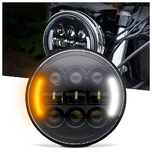 """Farol para Motos Mod LEDs 5.75"""" 45W Full LED - Preto - UND"""