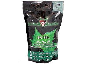 Esferas plásticas BBs King Arms 0.20g Biodegradável (Branca) - 5000 un