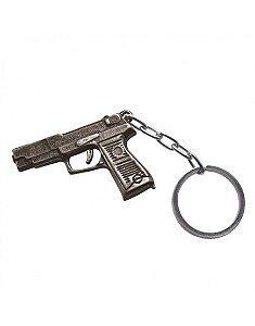Chaveiro pistola em metal cromado