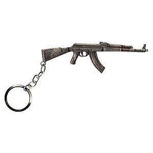 Chaveiro AK47 em metal cromado