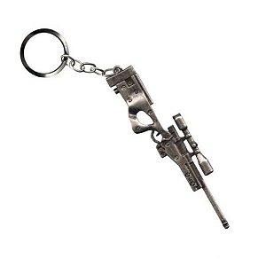 Chaveiro Sniper AWP L96 em metal cromado