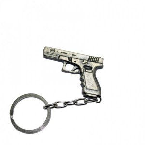 Chaveiro Pistola Glock em metal cromado