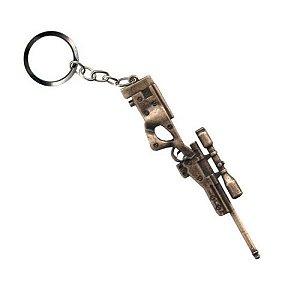 Chaveiro Sniper AWP L96 em metal Dourado