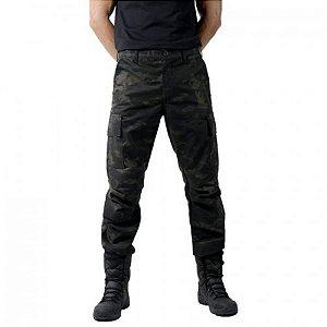 Calça tática camuflada Combat Bélica - Multicam Black