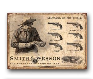 Placa decorativa Smith & Wesson Retrô