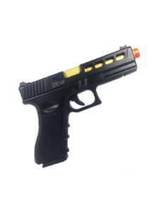 Pistola de airsoft Glock G17 ZEV Gold Double Bell á gás (GBB) Slide em metal/Blowback - Cal. 6mm
