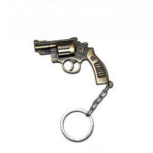 Chaveiro revólver Cal. 38 em metal Dourado