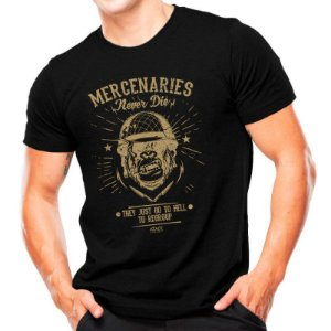 "Camiseta T-shirt estampada ""Mercenaries Never Die"" - Preta"