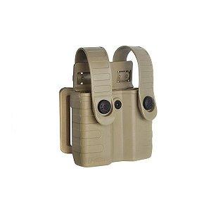 Porta magazine de pistolas duplo Tab Lock em polímero Bélica - Coyote