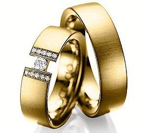 Aliança em ouro 18k com 12 diamantes