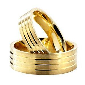 Par de Alianças em ouro amarelo 18k