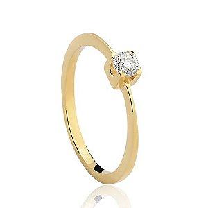Solitário em ouro amarelo 18k com 20 pontos de diamante