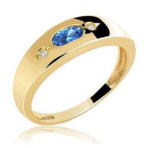 Aliança em ouro 18k com 6 pontos de diamante e pedra preciosa Safira