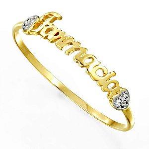 Anel de formatura feminino em ouro 18k e 3 pontos de diamante