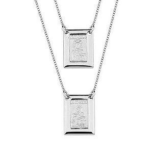 Escapulário Masculino em prata 925 Sagrado Coração Jesus e Nsa. do Carmo