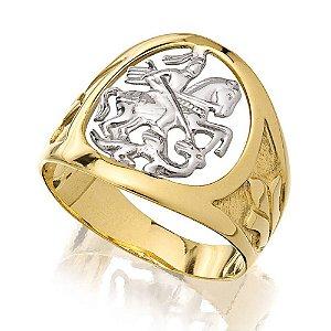 Anel masculino São Jorge em ouro amarelo 18k e detalhes em prata 925 Coleção Homem Nobre
