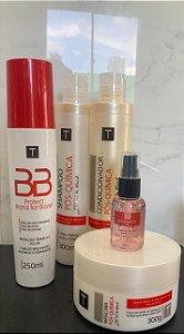 combo kit manutenção (shampoo, condicionador, máscara, protetor térmico solar, reparador de pontas)